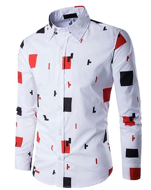 Landfox Camisa de manga larga casual para hombre Camisa de vestir slim fit Camisa estampada Top 1q61l2U