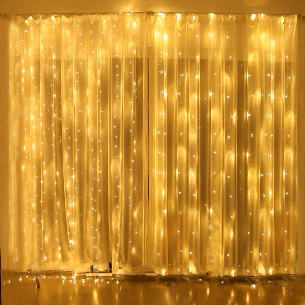 Yinuo Candle 300 LED Window Curtain Light,LED String Light 3x3m Fairy Light for Wedding Party Home Garden Bedroom Outdoor Indoor Wall Decorations, Warm White