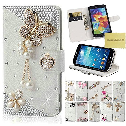 Cheap Cases On5 Case, Houshine Handmade Bling Crystal Rhinestone Folio Wallet Stand PU Leather..