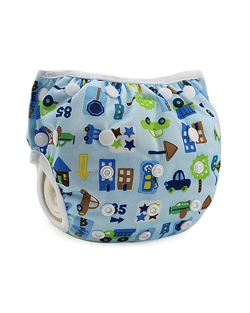 AIIGOU Nuotata del bambino Pannolino indossare registrabile riutilizzabile lavabile per linfante ragazza ragazzo bambino di colore blu