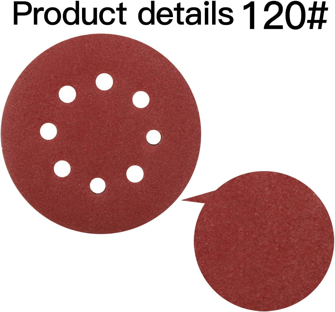 Deefoml 40 Pcs Sanding Discs 60# 80# 120# 240# Grit 5 inches 8-Holes Hook and Loop Sander Discs Pad Assortment for Random Orbital Sander