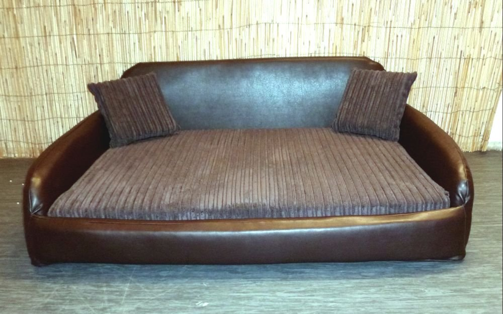 Zippy Faux Leather Sofa Pet Dog Bed Extra Large Brown & Brown Jumbo Cord