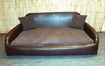 Zippy Faux Leather Sofa Pet Dog Bed - Extra Large - Brown & Brown ...