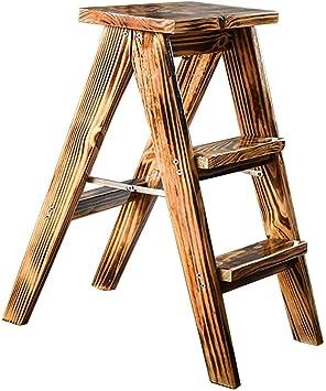 CXY-JOEL Silla de Escalera Taburete de Escalera de 3 Peldaños con Reposapiés, Taburetes de Bar de Madera Escalera de Peldaño de Doble Uso Plegable para Cocina Hogar Espacio Estrecho Chasis Estable,H: Amazon.es: