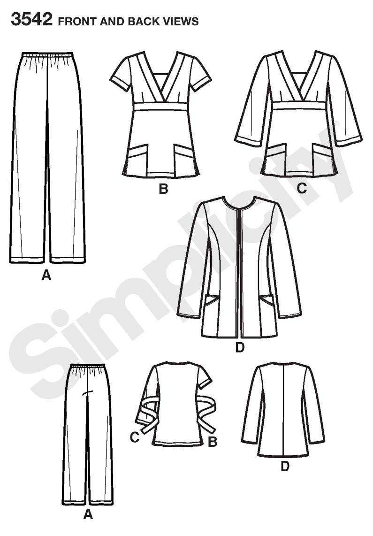 Simplicity 3542 BB - Patrones de costura para uniformes médicos de ...