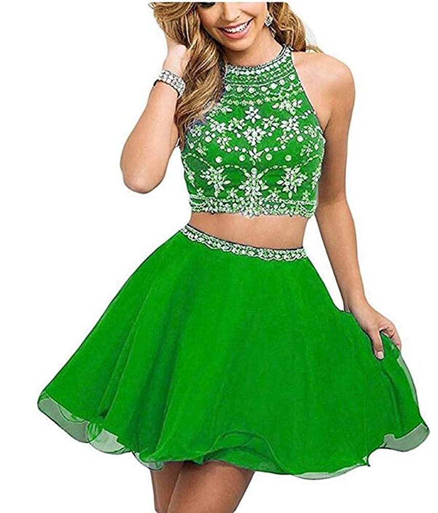 Emmani Womens Two Pieces Crystal Beaded Halter Homecoming Dresses Party Gown