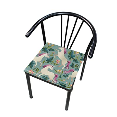 "Bardic HNTGHX Outdoor/Indoor Chair Cushion Floral Unicorn Print Square Memory Foam Seat Pads Cushion for Patio Dining, 16"" x 16"": Home & Kitchen"