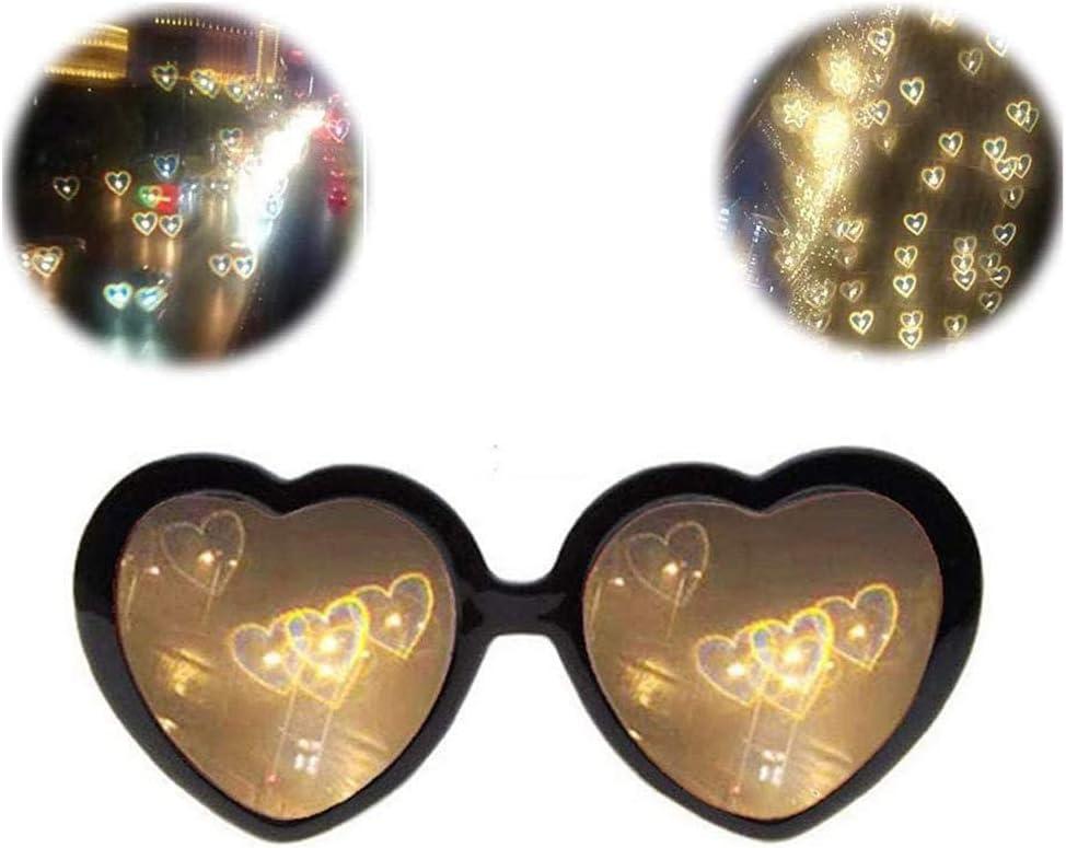 Pppby Gafas De Efectos Especiales En Forma De Corazón 3D Gafas Reflectantes Luces Cambiantes Genial Moda Regalos De Cumpleaños Fiesta Accesorios Fotográficos Luces Negro