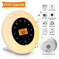 Wake Up Light,Elfeland Radio Alarm Clocks LED Bedside Lights Touch Control Night Light Sunrise & Sunset Simulator Mode 8 Nature Sounds &7 Colors Light Modes FM Radio Function Snooze Function Phone Music Cable 10 Dimming Brightness Levels Night Lamp Ideal for Home, Bedroom & Gift