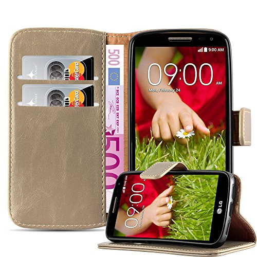 Cadorabo – Luxury Book Style Wallet Design Case for LG G2 MINI with 2 Card Slots and Stand Function - Etui Case Cover Protection Pouch in CAPPUCINO-BROWN (Beautiful Lg G2 Phone Cases)