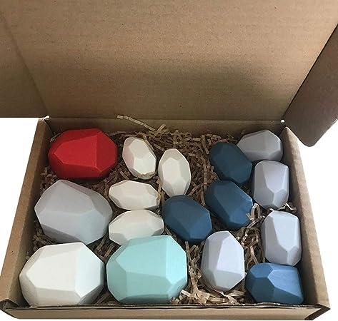 Multi Color Wooden Building Blocks Set Natural Wood Toy, Rainbow Wooden Stones (16 Pcs Multi-Colors)
