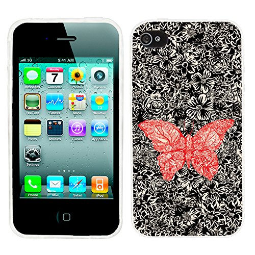 iPhone 4s Case,iPhone 4 Case,ChiChiC 360 Full Protective shockproof Stylish Slim Flexible Durable Soft TPU Elegant Artist Graphic Design Cover Cases for iPhone 4 4G 4S,cartoon animal abstract red butterfly on black floral flower (Iphone 4g Flowers)