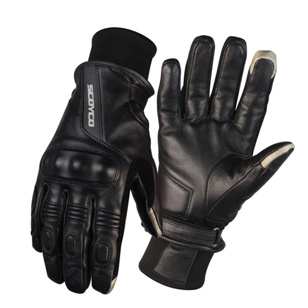 SCOYCO Retro Sheepskin Leather Waterproof Thermal Screen Sensitive Motorcycle Gloves (Black,XXL)