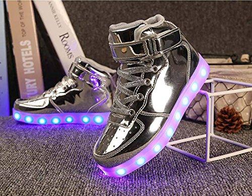 Honeystore Unisex Erwachsene High-Top LED Schuhe Sneaker Sportschuhe USB Lade Outdoor Leichtathletik Beiläufige Paare Schuhe Silber