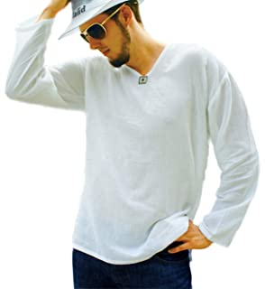 6a410c01 Pufa Collection : White T Shirt for Men Shirt V-Neck Long Sleeve for Beach