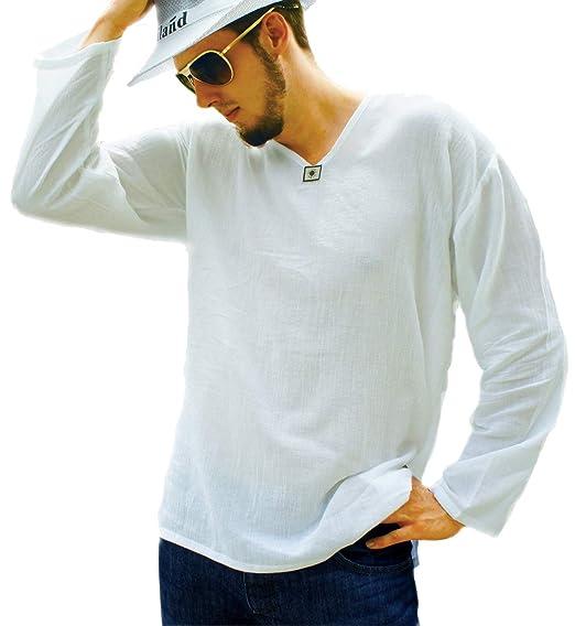 b93ee603d86 Pufa Collection   Men s White T-Shirt 100% Cotton Hippie Shirt V-Neck