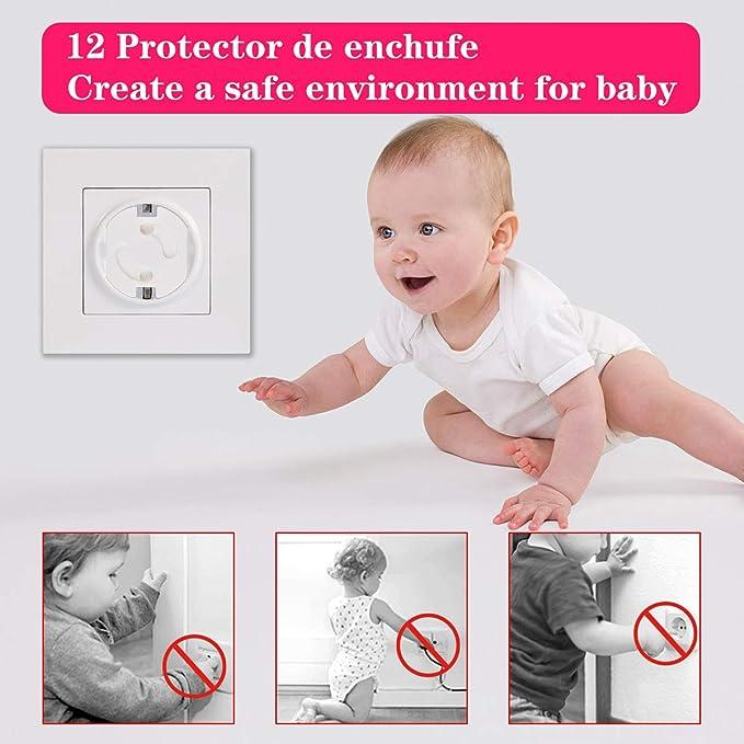 Kit Protector Para Esquinas y Enchufes 2 Protectores Puerta 12 Protector Enchufes 12 Protecciones para Esquinas EJOY 26 Pack Protecciones para Bebes y Ni/ños con Adhesivo de 3M