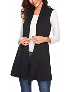 Ladies Collared Sleeveless Open Jacket Womens Plain Long Cardigan Summer Maxi