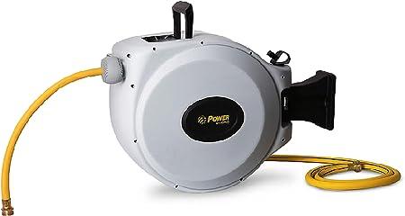 POWER Carrete para Manguera Automático, 20 + 2m Manguera Enrollable, Rotación de 180°, Fácil Para Llevar – CW020: Amazon.es: Jardín