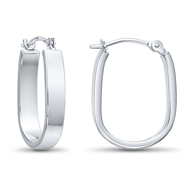 14k White Gold Small Oval Hoop Earrings, 0.7'' Diameter by Tilo Jewelry