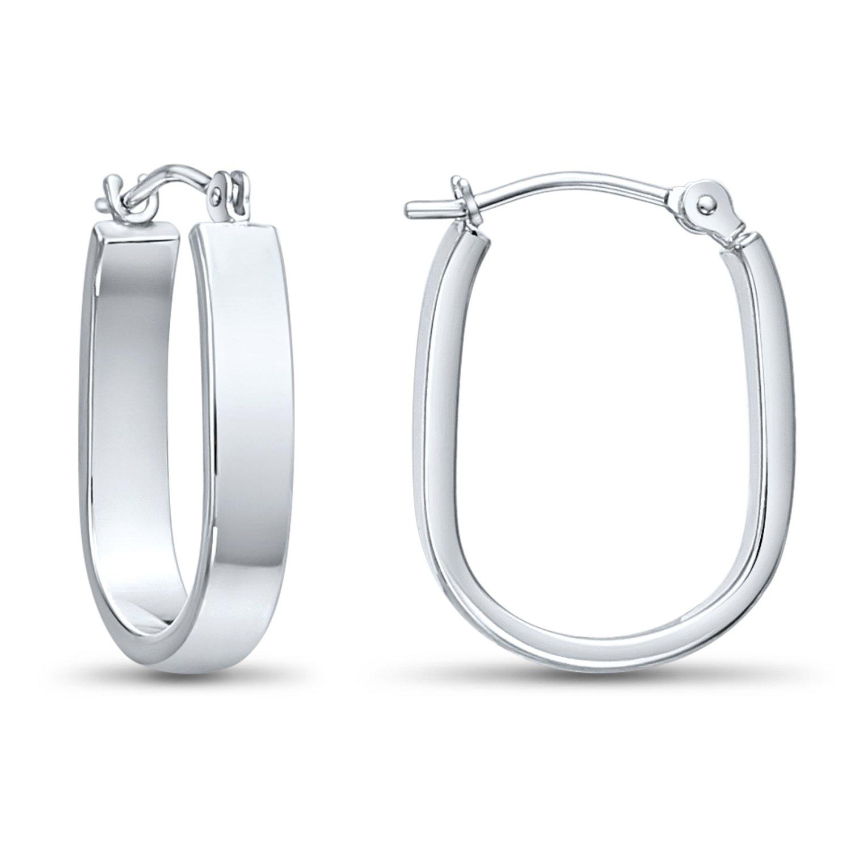 14k White Gold Small Oval Hoop Earrings, 0.7'' Diameter