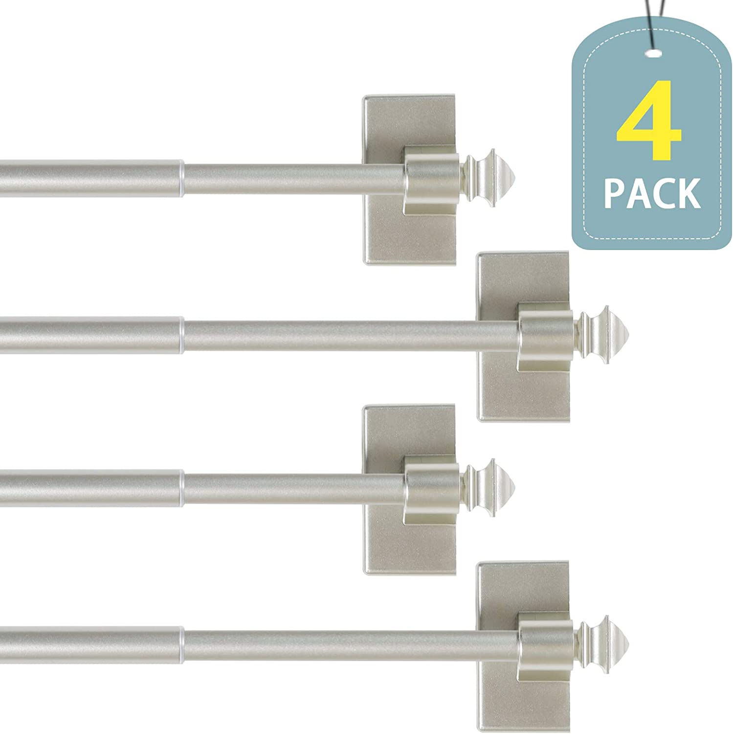 H.VERSAILTEX Magnetic Curtain Rods for Metal Doors Multi-Use Rods for Small Windows Cafe Sidelight and Iron Steel Places, Tool Free with Square Finials (4 Pack, Adjust from 16 to 28 Inch, Nickel)