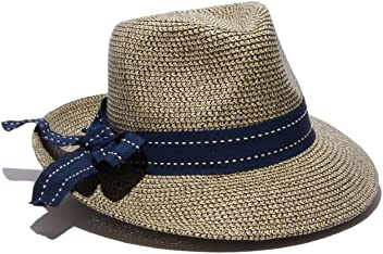 2e58c665 Physician Endorsed Women's Rich Pitch Fedora Packable Sun Hat with Ribbon  Rated