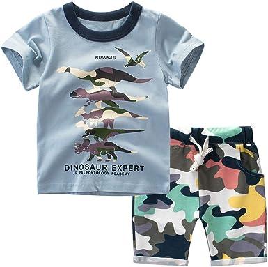 Conquro Versión Coreana para niño de la Camisa de Camuflaje de Dinosaurio de Dibujos Animados + Pantalones Cortos de Dos Piezas Dinosaurios Ropa de niño Camisetas sin Manga 1-7años: Amazon.es: Ropa y
