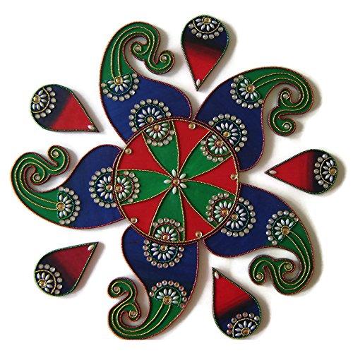 Ethnic Avenue Diwali Christmas Decorations Wooden Handmade Rangoli - 11 Piece Rangolis for Floor, Table or Wall Decor