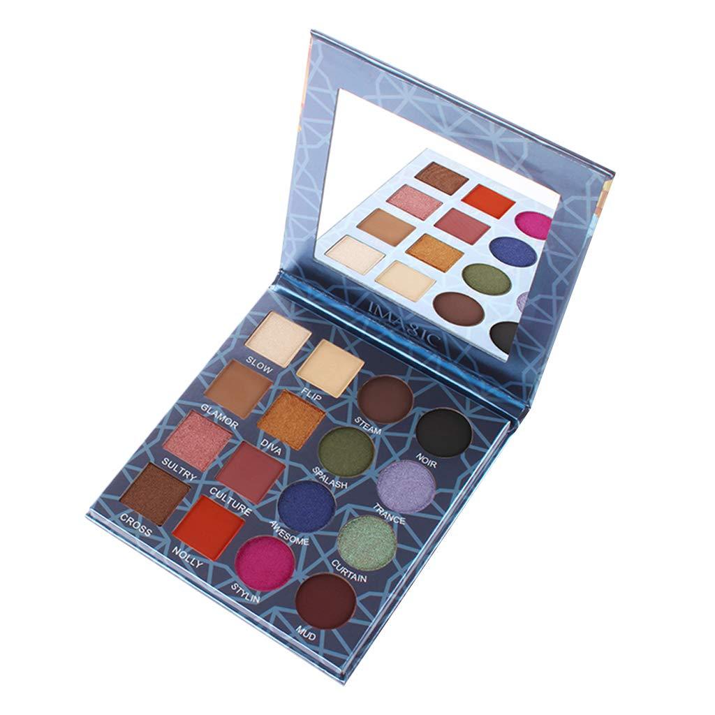 Homyl Eyeshadow Palette Makeup Matte Shimmer 16 Colors High Pigmented Cosmetic Eye Shadows Waterproof Long Lasting