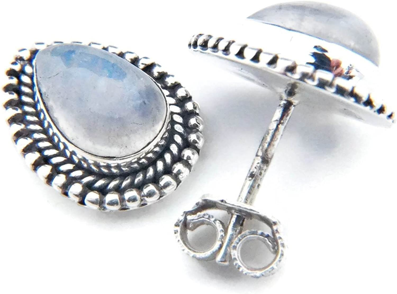 Pendientes de plata 925 con Piedra de luna 9 mm12 mm (No: MOS 55)