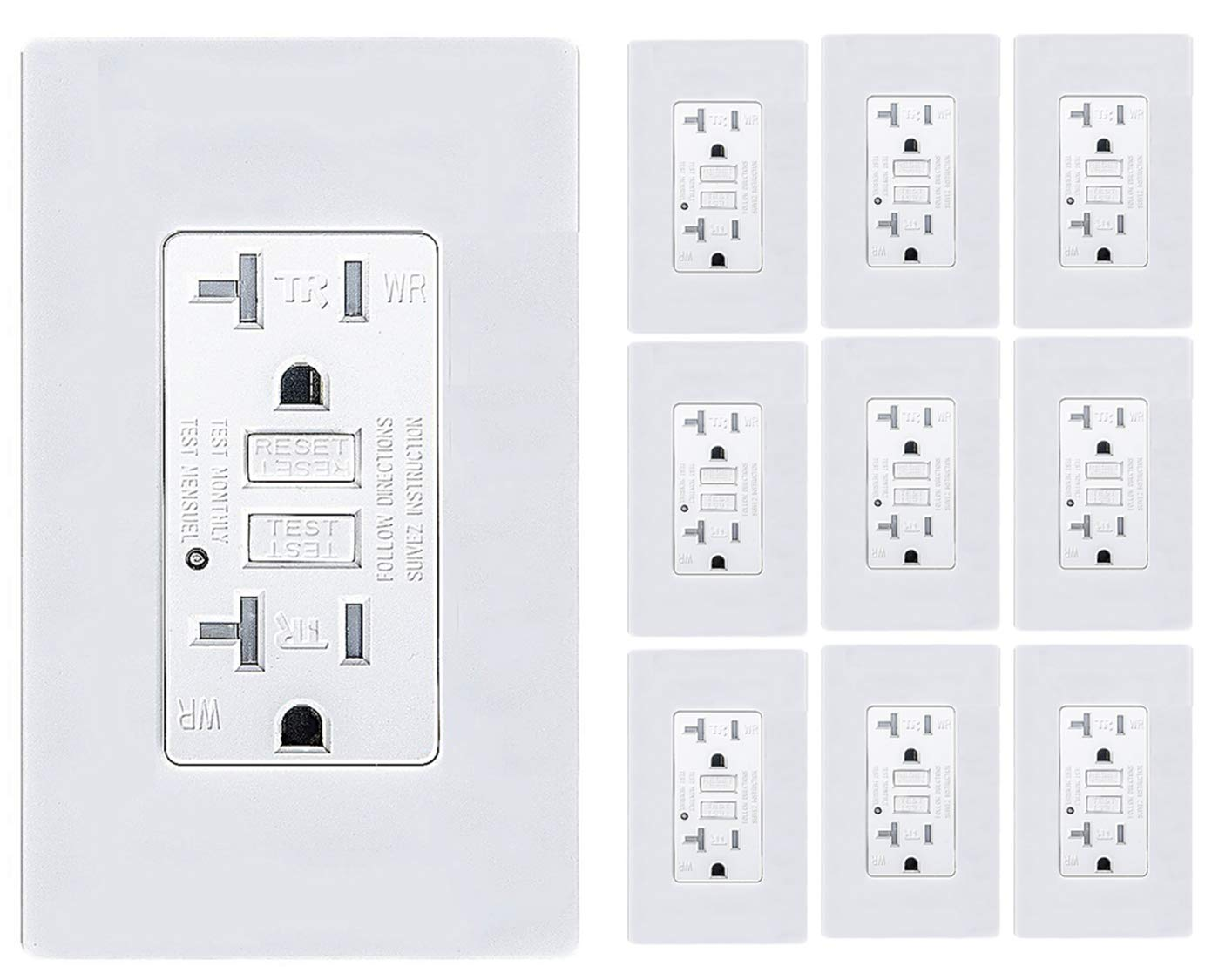 Teklectric - GFCI Receptacle 20A 125V Tamper/Weather Resistant + Wall Plate - GFCI Outlet 20 AMP 125 VOLT Grounded Water/Tamper Resistant Wall Plate Included (10)