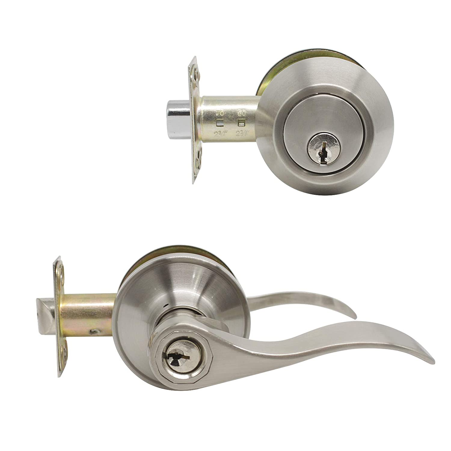 1 Set Entry Door Lever And Deadbolt Lock Set, Deadbolts Keyed Both Sides,  All Keyed Same, Wave Style Front And Exterior Door Handleset With Double  Cylinder, ...
