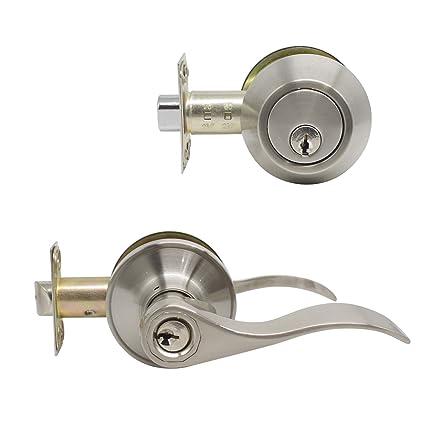 1 Set Entry Door Lever And Deadbolt Lock Set Deadbolts Keyed Both