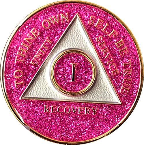 1年AA Medallion GLITTERピンクtri-plateチップ