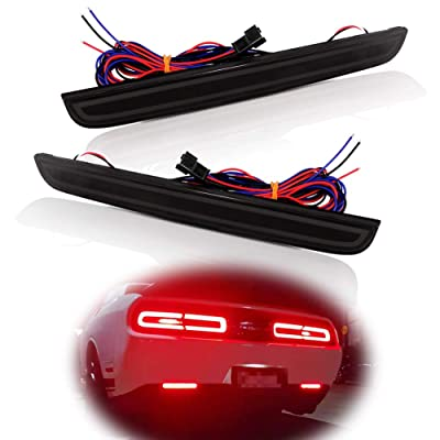 Miniclue Full LED Smoked Lens Tail Brake Rear Fog Lamps Bumper Reflector Lights Compatible with 2015 2016 2020 2020 2020 Dodge Challenger: Automotive