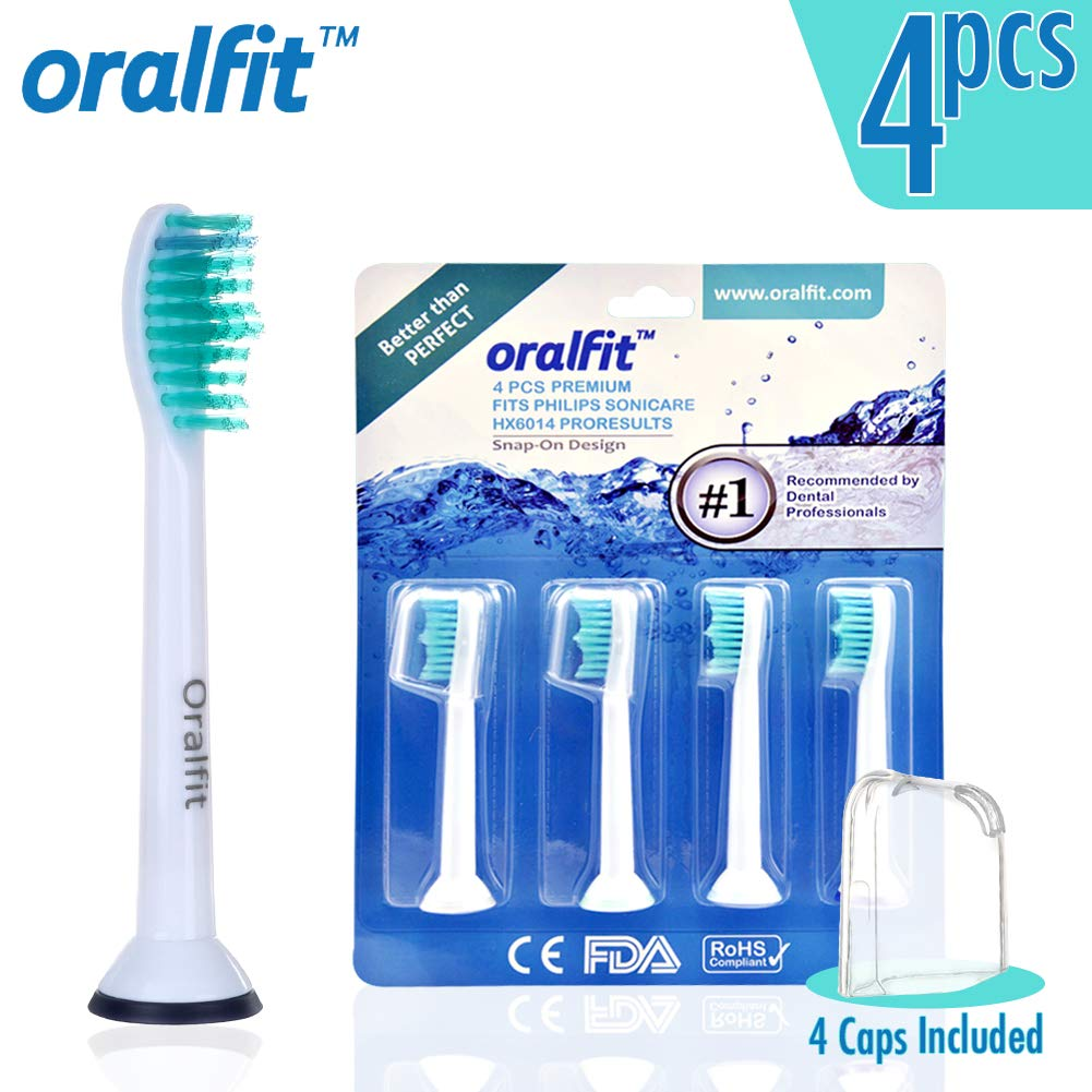 Generic Philips Sonicare Toothbrush Heads Replacement - Compatible for HX6014 HX6013 ProResults PowerUp Essence+ DiamondClean HealthyWhite+ Flexcare+ - 4 pcs with Nylon Bristles for Gum Plaque Control