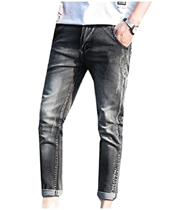 be61df8be9b5 Winwinus Men s Casual Washed Tapered Skinny Broken Hole Relaxed-Fit Jean  Grey 26