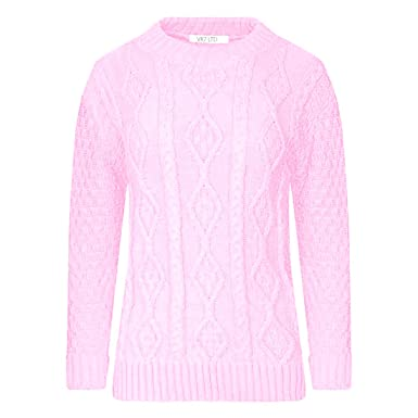 875ec5dcb464c0 VR7 New Ladies Long Sleeve Chunky Cable Knitted Jumper Crew Neck Winter  Sweater Top Size 8-18  Amazon.co.uk  Clothing