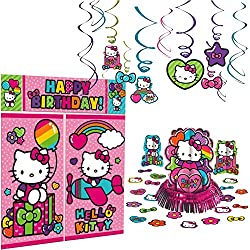 Cedar Crate Market Hello Kitty Rainbow Decoration Party Supplies Pack Includes: Hanging Swirls, Scene Setter, and Table Decorating Kit