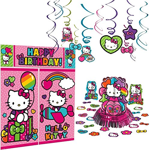 Hello Kitty Rainbow Decorations Birthday Party Supplies Pack | Hanging Swirls, Scene Setter, and Table Decorating Kit | Have The Best Hello Kitty Party With This Rainbow Hello Kitty Party -