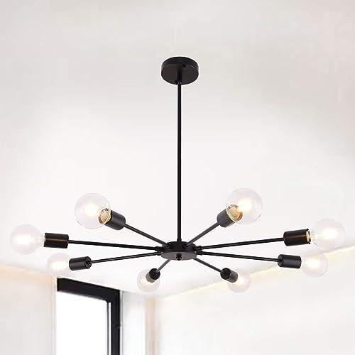 8 Lights Black Sputnik Chandeliers Vintage Ceiling Light Fixture Modern Dual-Purpose Pendant Lighting