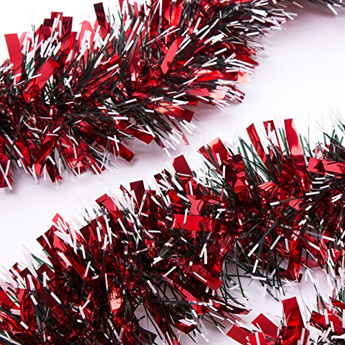 SANNO Red Christmas Garland Thick Tinsel Decoration 3pc 66Ft x 4in (Large Image)