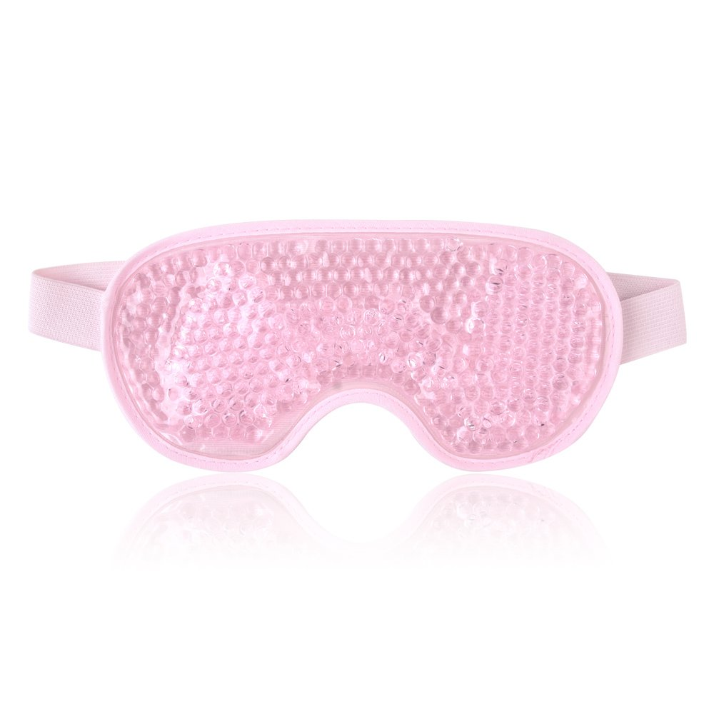 Reusable Eye Mask with Gel Beads for Hot Cold Therapy, Flexible Cold Eye Mask for Swollen Eyes, Dry Eyes and Headache Relief - Pink