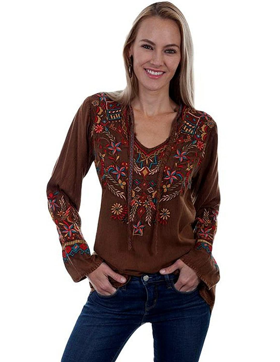 Women's 70s Shirts, Blouses, Hippie Tops Scully Womens Bennington Boho Embroidered Fun Blouse $90.00 AT vintagedancer.com