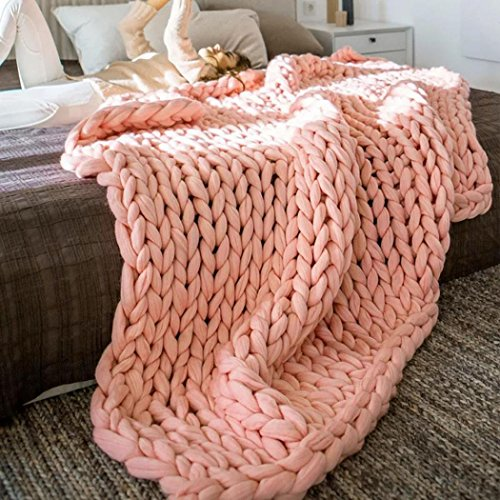 Hand Chunky Knitted Blanket,REYO Thick Wool Bulky Knitting Throw 6 Colors (80100cm, Khaki)