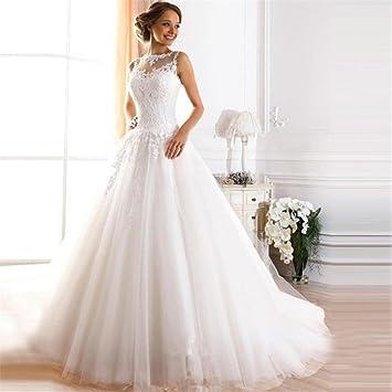 LUCKY-U Vestido de novia Nupcial Mujer Playa Larga Vestido de novia Sirena Vestido de
