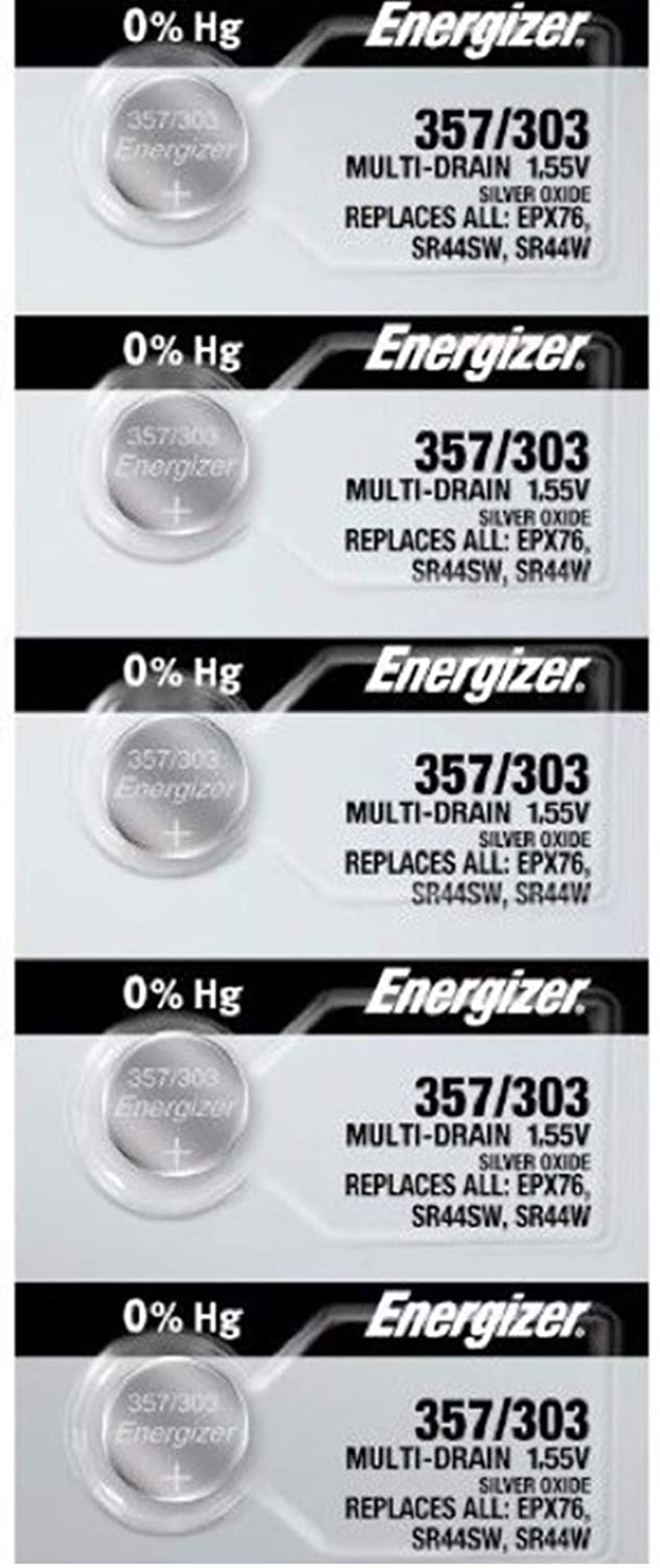 Energizer 357/303 (SR44W, SR44SW, EPX76) Silver Oxide Multi Drain Watch Battery. On Tear Strip (Pack of 5)