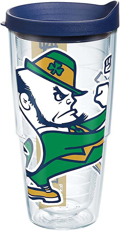 Tervis 1275205 Notre Dame Fighting Irish Leprechaun Tumbler with Emblem and Navy Lid 24oz Clear