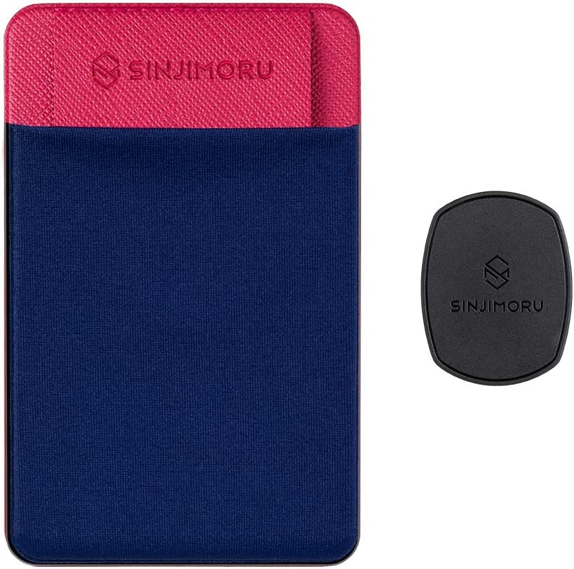 Sinjimoru Removable Cell Phone Wallet with Flap, Wireless Charging Compatible Phone Card Holder Wallet and iPhone Mount, Sinji Mount Flap Navy